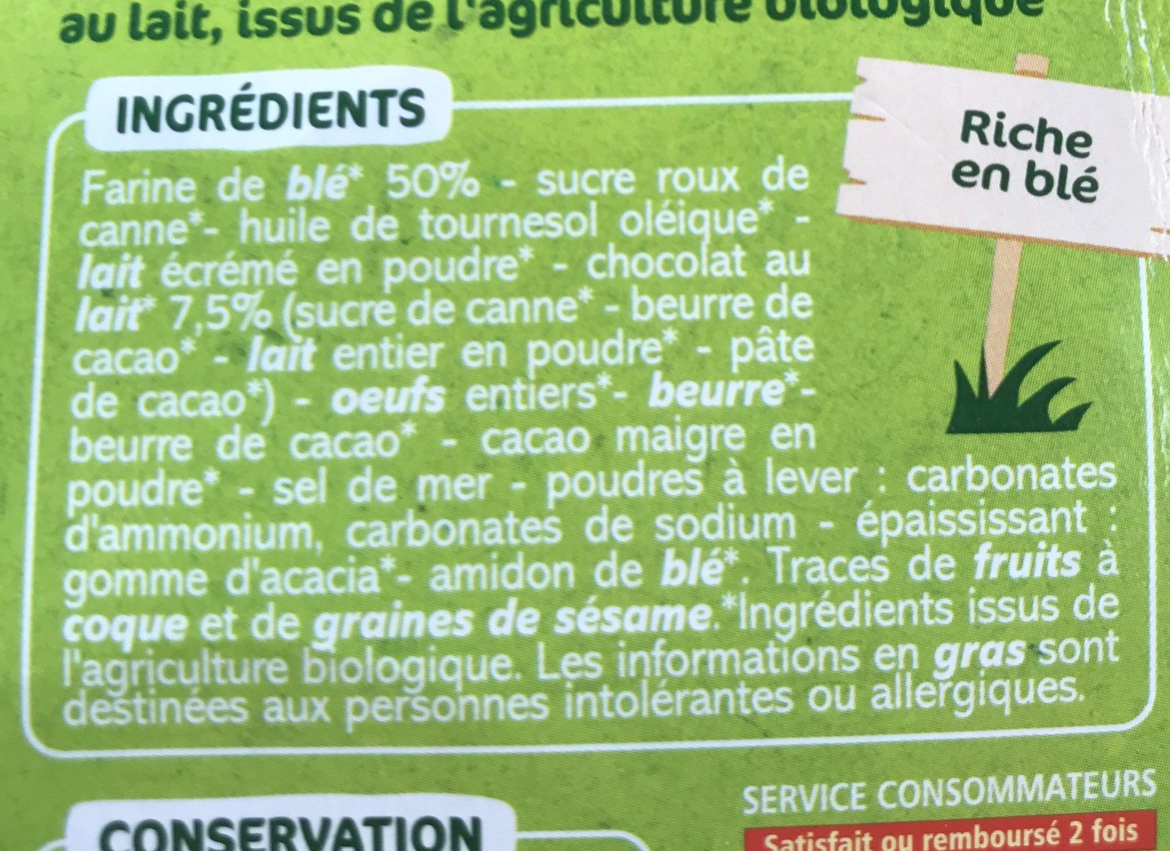 Goûters ronds fourrage chocolat au lait - Ingredients - fr