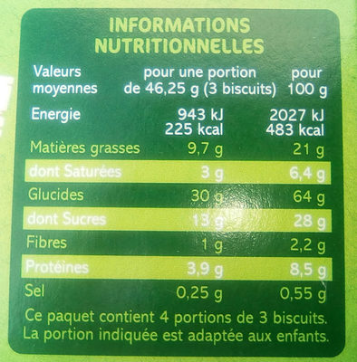 Goûters ronds fourrage chocolat au lait - Nutrition facts - fr
