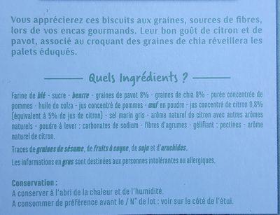 Biscuits graines de pavot et de chia saveur citron - Ingredienti - fr