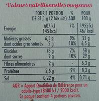 Biscuits graines de pavot et de chia saveur citron - Valori nutrizionali - fr