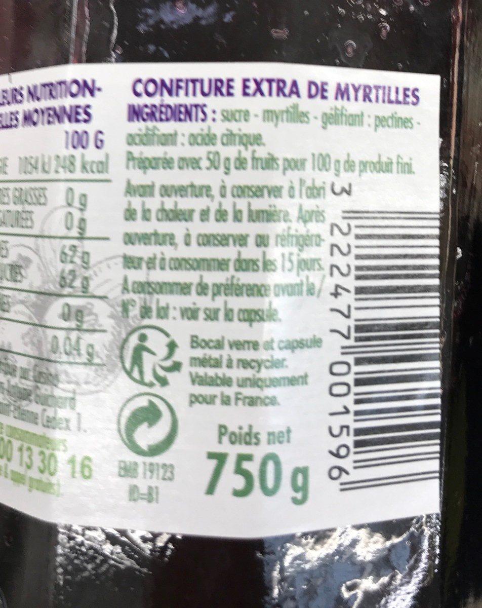 Confiture de Myrtille - Ingredienti - fr
