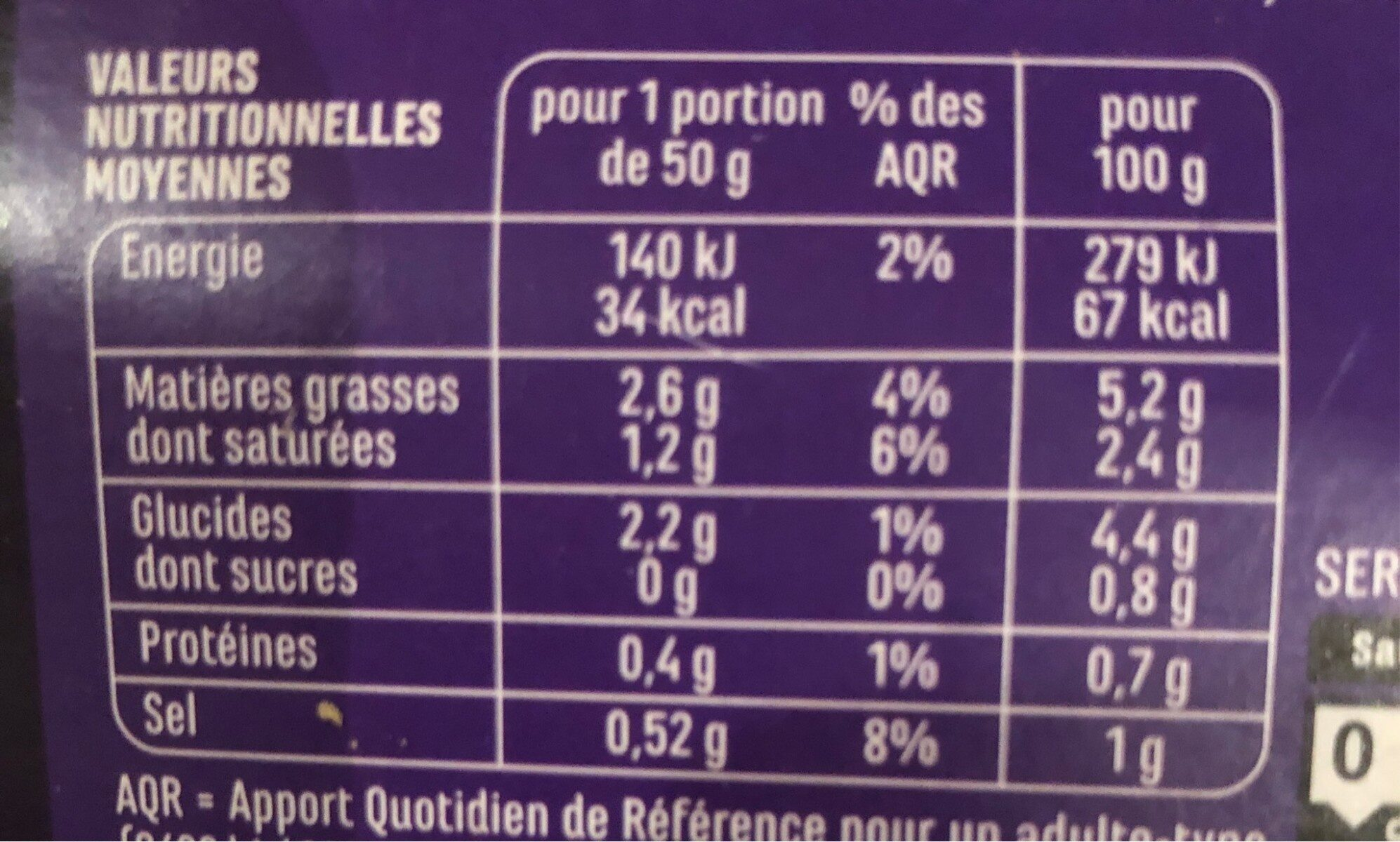 sauce morilles - Nutrition facts - fr