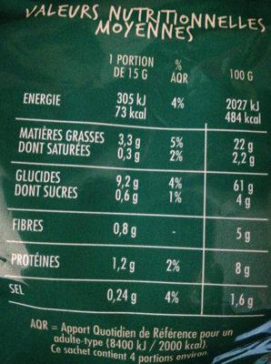 Rings goût Oignon - Nutrition facts