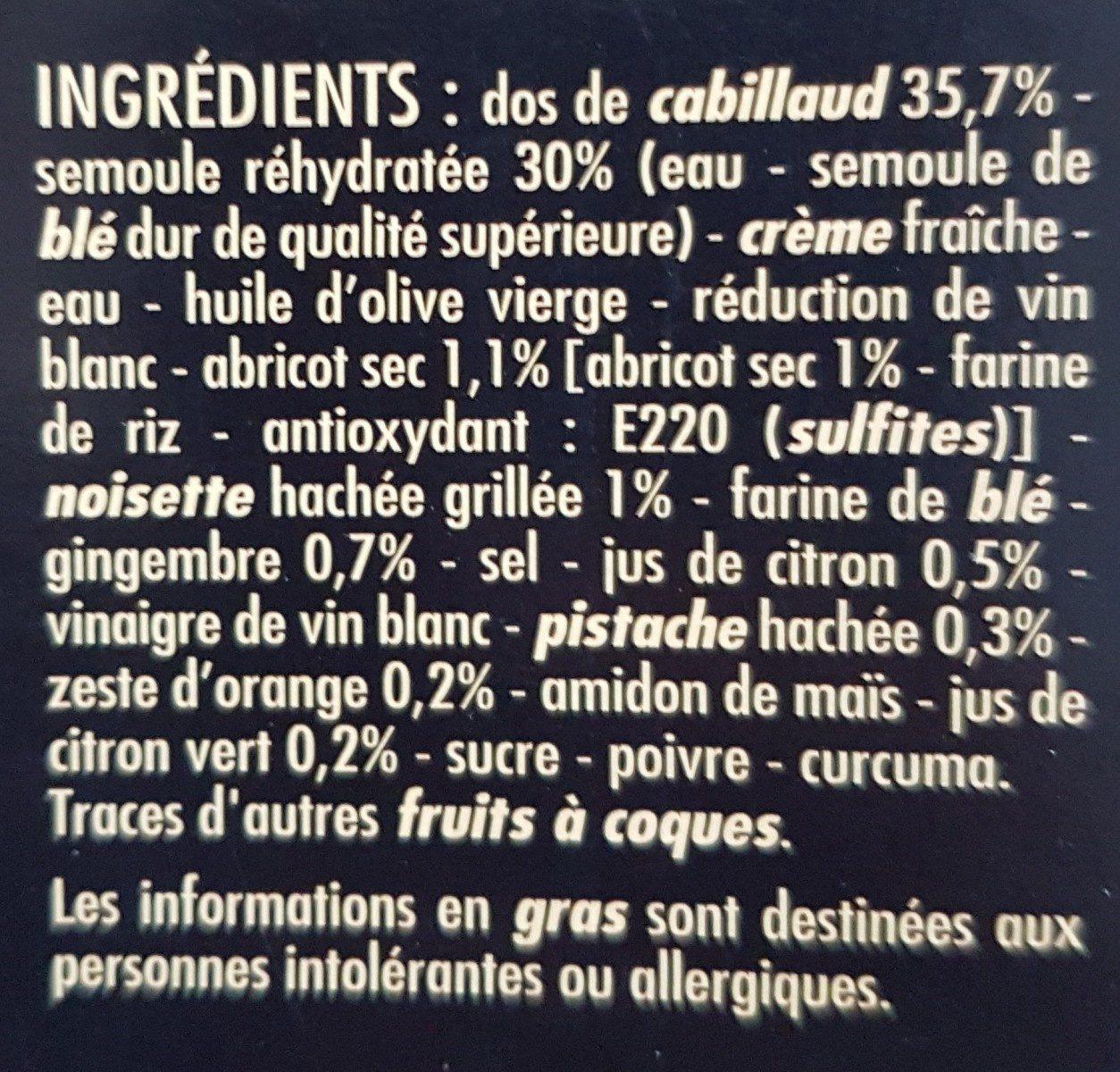 Cabillaud sauce agrumes et semoule aux fruits secs - Ingredients