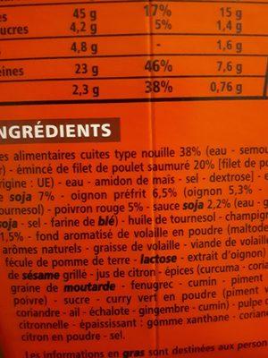 Box nouilles poulet et légumes recette asiatique - Ingrediënten
