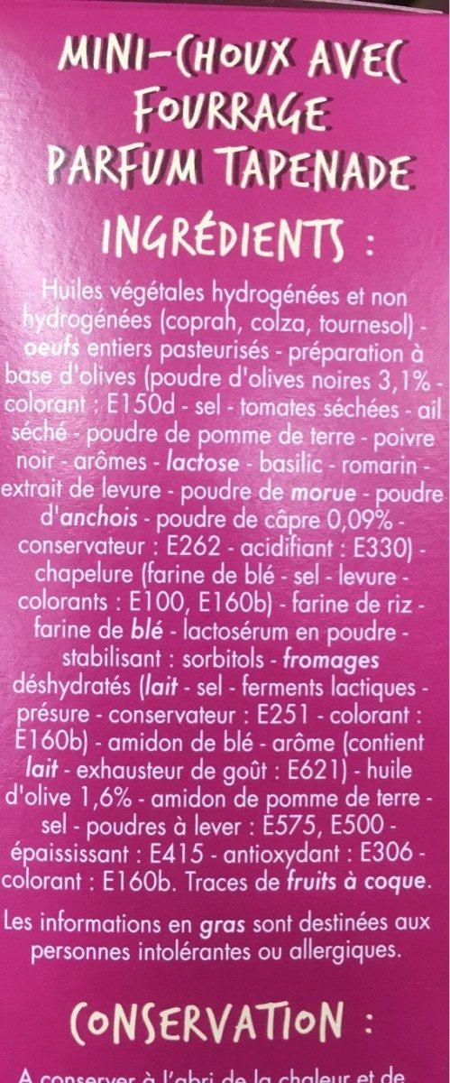 Mini-choux goût Tapenade - Ingrédients - fr
