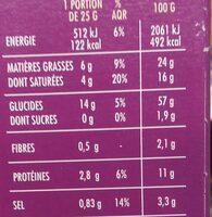Palmiers goût Olives noires - Voedingswaarden - fr