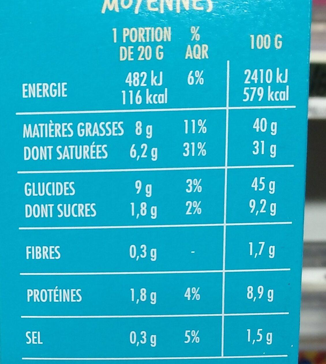 Gaufrettes fromage noix - Voedingswaarden - fr
