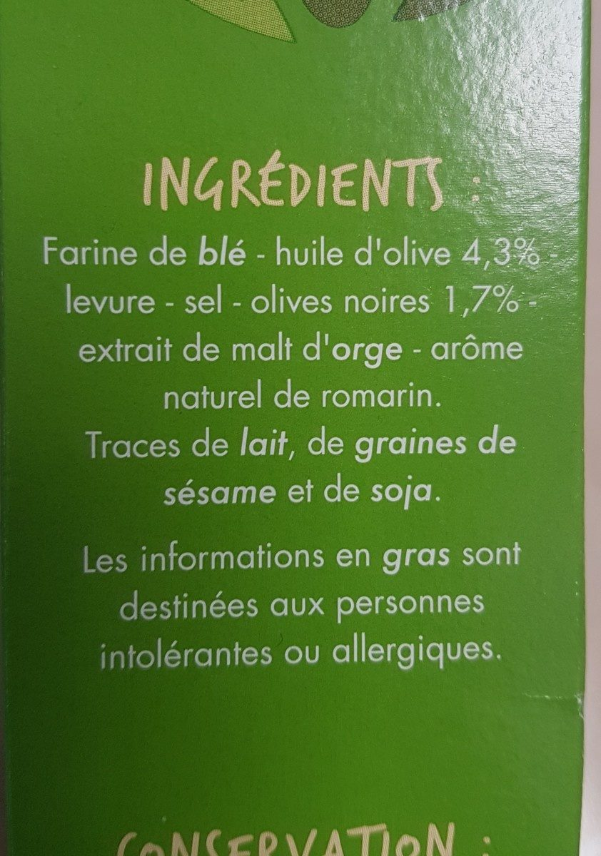 Flûtes Olive - A lh'uile d'olive - Ingredients