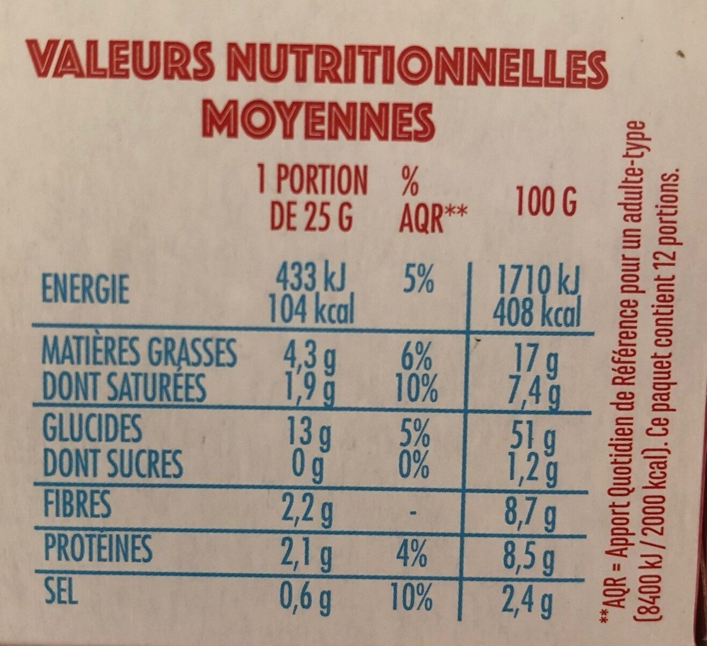 Popcorn salé microondes - Valori nutrizionali - fr