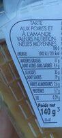 Amandine aux poires - Nutrition facts - fr