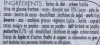 Tarte noisettes chocolat - Ingredients - fr