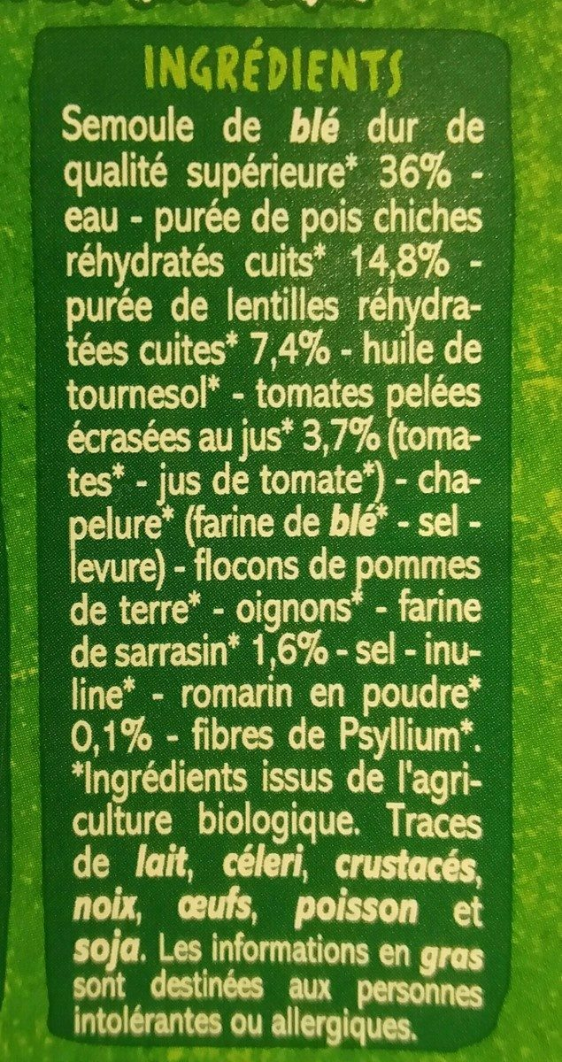Mezzaluna farce aux légumineuses BIO - Spécialités céréalières à base de semoule de blé dur et de sarrasin avec farce aux légumineuses - Ingrédients - fr