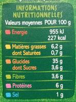 Mezzaluna farce aux légumineuses BIO - Spécialités céréalières à base de semoule de blé dur et de sarrasin avec farce aux légumineuses - Informations nutritionnelles - fr