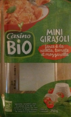 Mini Girasoli farce à la ricotta, tomate et mozzarella BIO - Spécialités céréalières à base de semoule de blé dur, de sarrasin et de paprika avec farce à la ricotta, au double concentré de tomate et à la mozzarella - Product