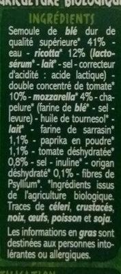 Mini Girasoli farce à la ricotta, tomate et mozzarella BIO - Spécialités céréalières à base de semoule de blé dur, de sarrasin et de paprika avec farce à la ricotta, au double concentré de tomate et à la mozzarella - Ingredients