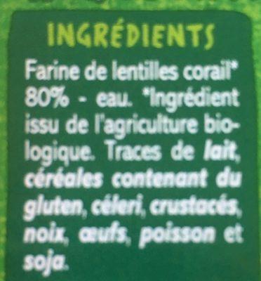Fusilli à la farine de lentilles corail BIO - Spécialités alimentaires à base de farine de lentilles corail - Ingrediënten - fr