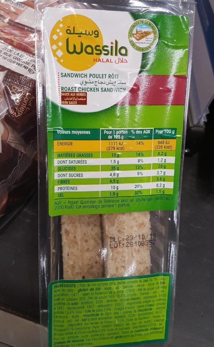 Sandwich poulet sauce aux herbes - Product