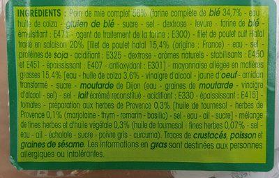 Sandwich poulet sauce aux herbes - Ingredients