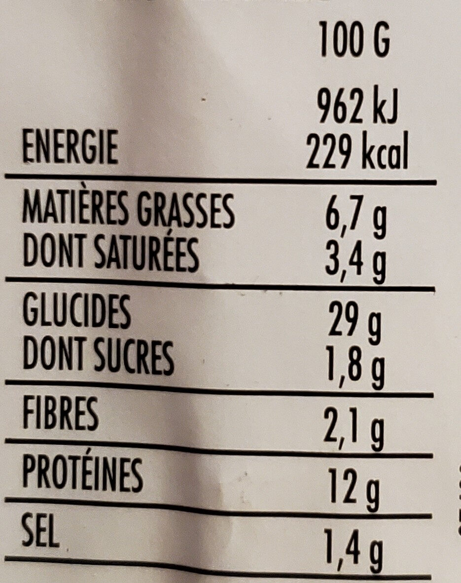 Pizza Jambon et Fromages - Voedingswaarden - fr