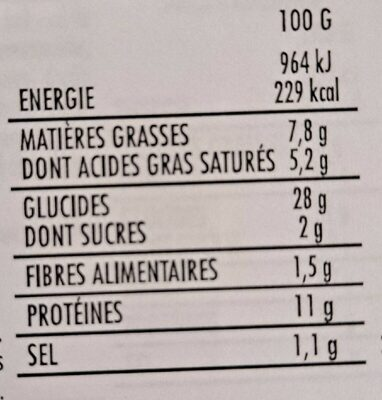 Pizza fromages - Nutrition facts - fr