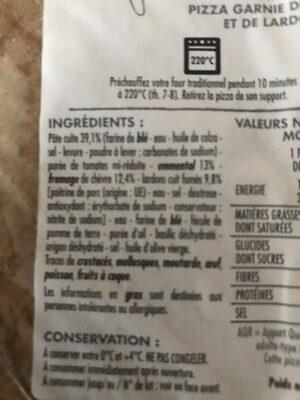 Pizza chèvre et lardons - Ingredients