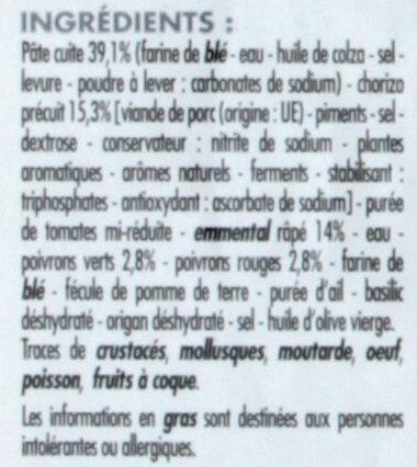 Pizza Chorizo et poivrons - Ingredients