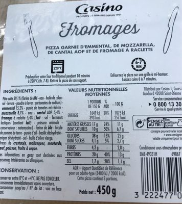 Pizza fromages - Nutrition facts