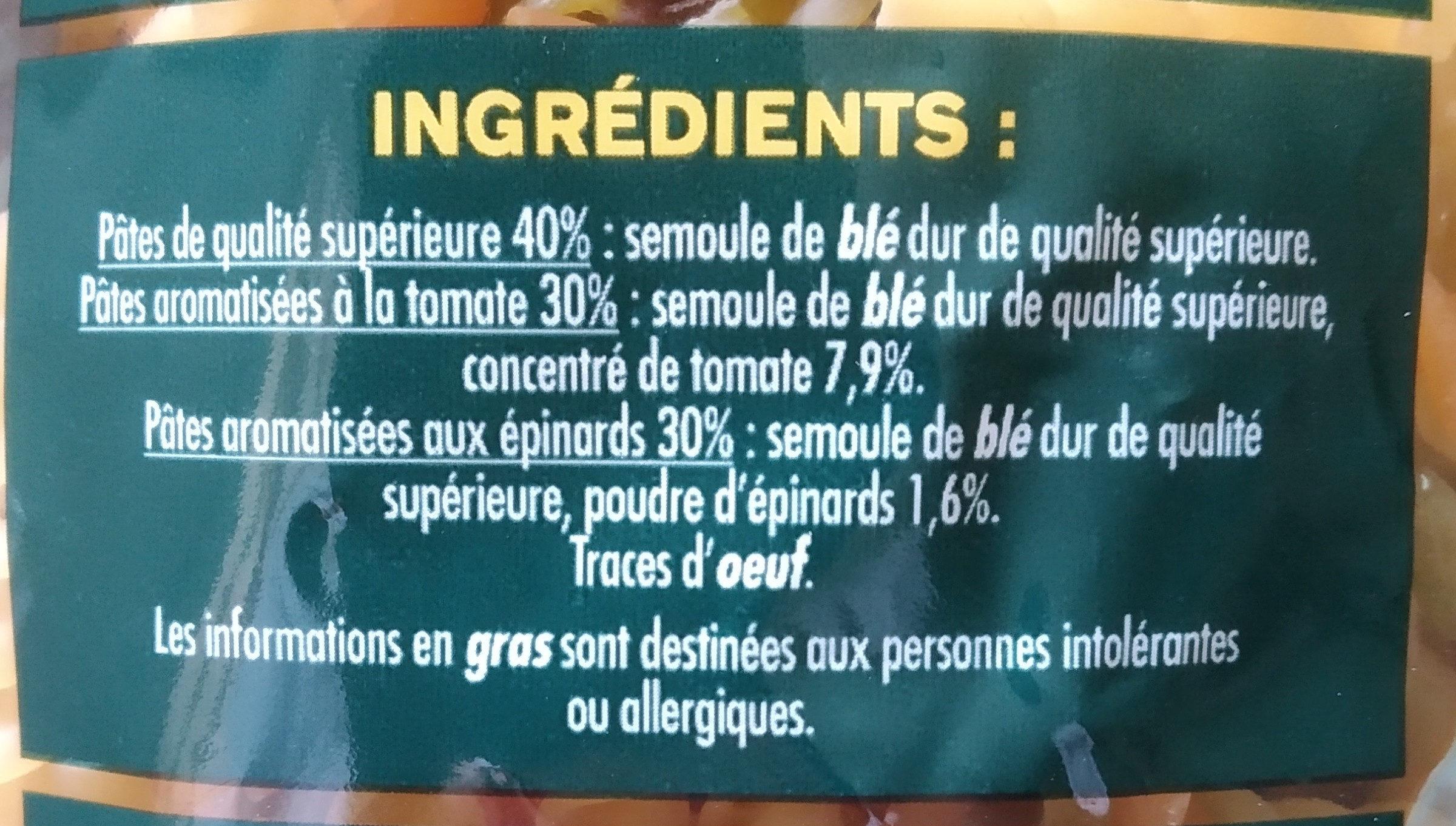 Torsades tomate, épinards - Ingrediënten - fr
