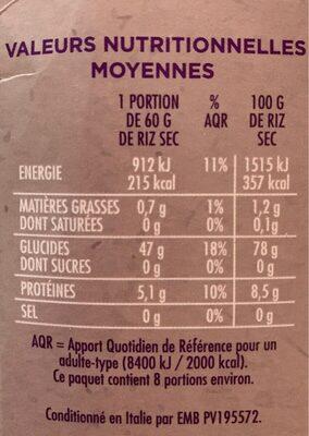 Riz basmati long grain - Valori nutrizionali - fr
