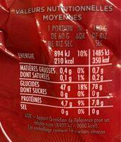 Arborio riz pour risotto - Informations nutritionnelles - fr