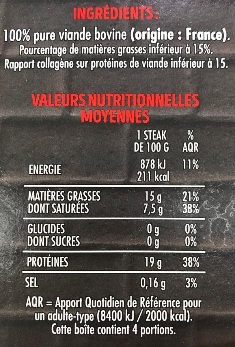 4 steaks hachés pur boeuf 15%MG - Informations nutritionnelles