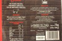 10 steaks hachés pur boeuf 15% - Valori nutrizionali - fr