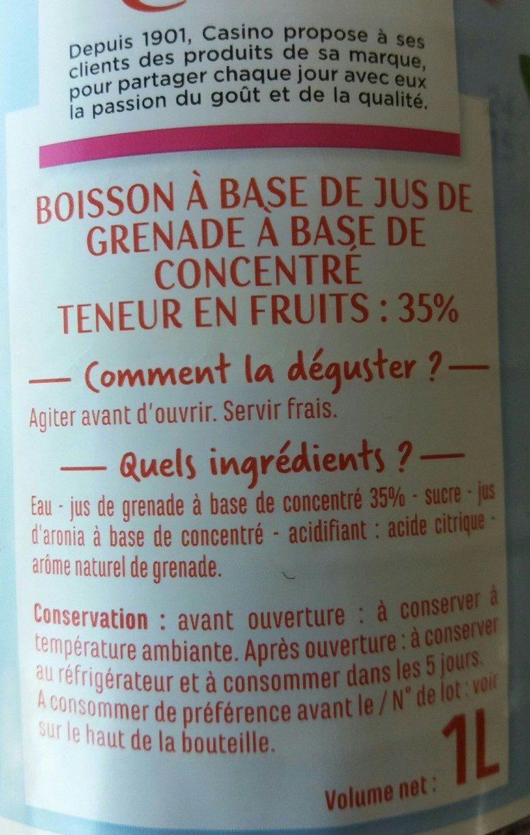 Boisson grenade à base de concentré - Ingredients