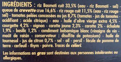 Les Savoureuses Crevettes riz Basmati, riz rouge et légumes - Sauce à la tomate, aux échalotes, au basilic et au citron - Ingredients