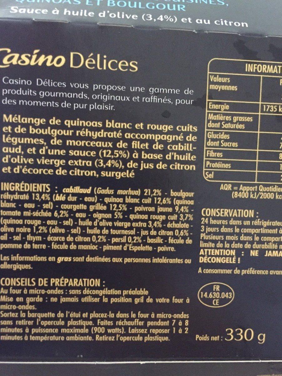 Le Savoureux Cabillaud, légumes du soleil cuisinés, quinoas et boulgour - Sauce à l'huile d'olive (3,4%) et au citron - Product