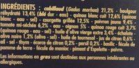 Le Savoureux Cabillaud, légumes du soleil cuisinés, quinoas et boulgour - Sauce à l'huile d'olive (3,4%) et au citron - Ingredients