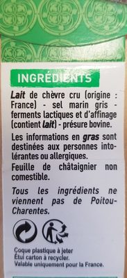 Mothais sur feuille au lait cru de chèvre - Ingredients