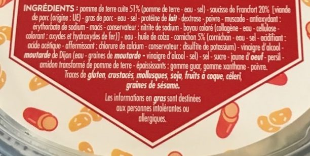 Salade strasbourgeoise - Ingrédients