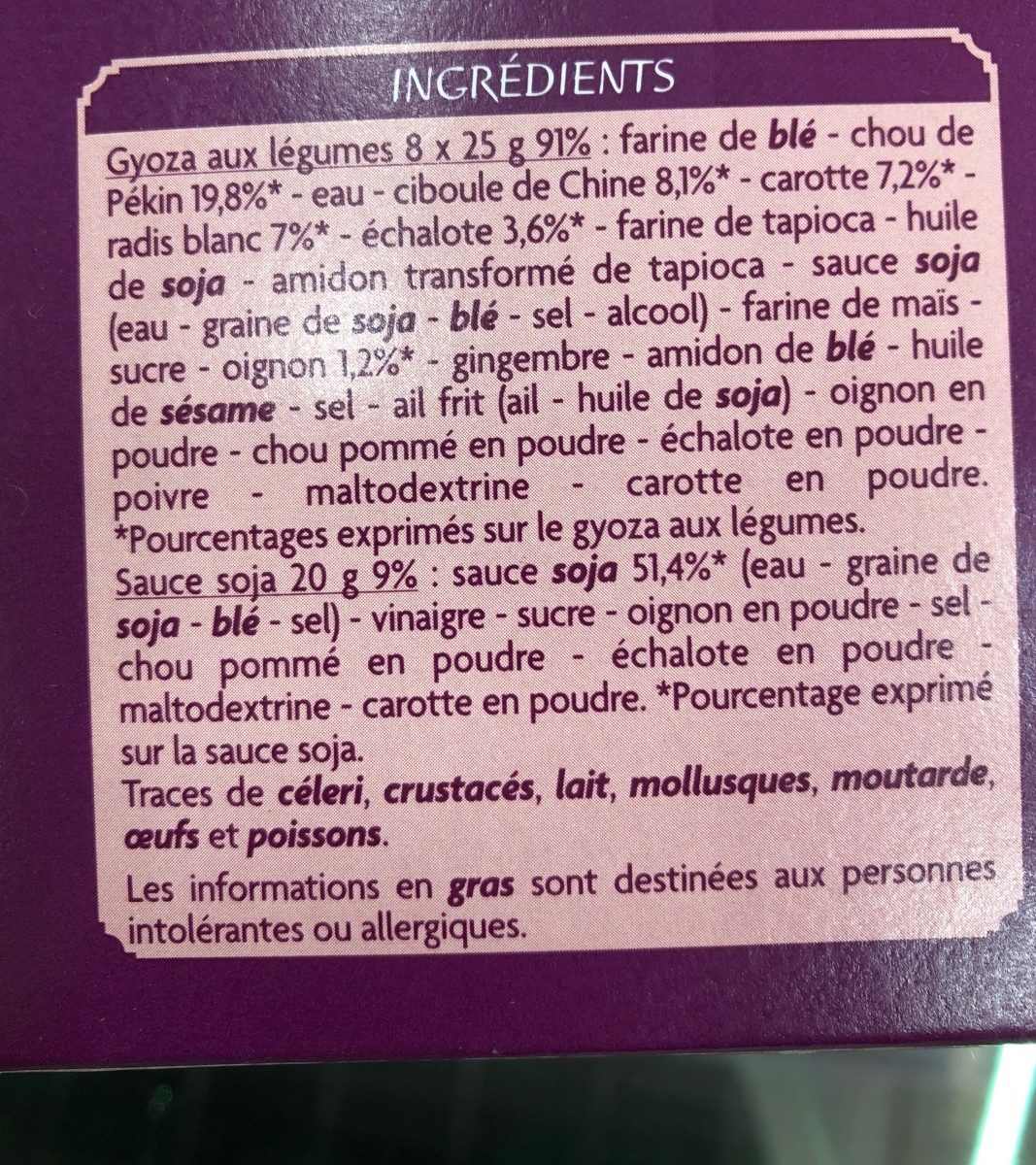 8 Gyoza aux légumes sauce soja - Ingredients