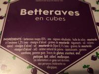 Betteraves rouges - Ingrediënten - fr