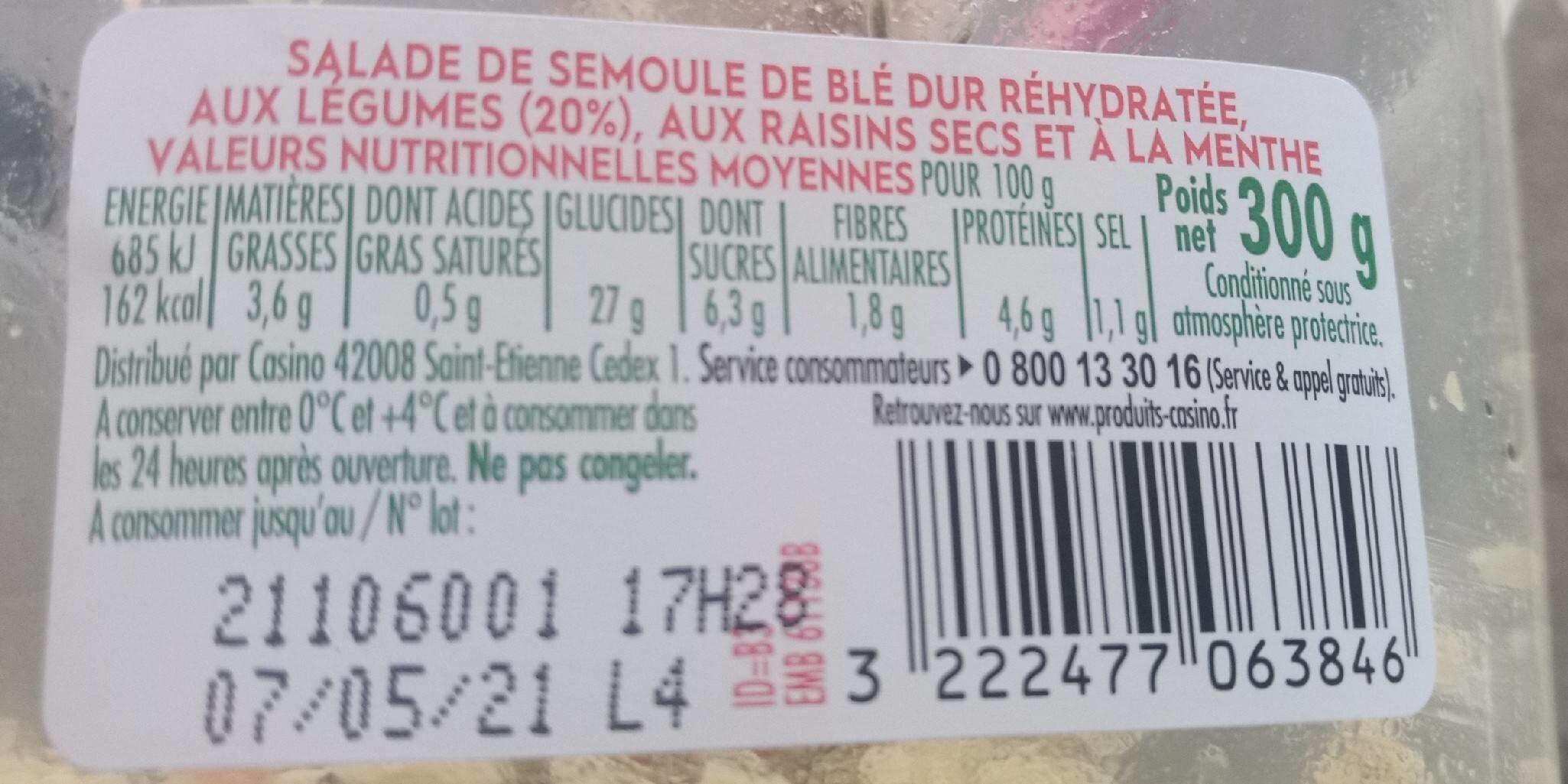 Taboulé oriental - Voedingswaarden - fr