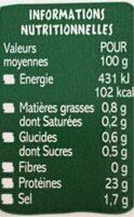 Crevettes tigrées cuites de MADAGASCAR - Nutrition facts - fr