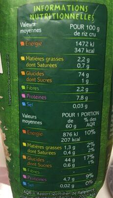 Riz long grain complet - Valori nutrizionali - fr