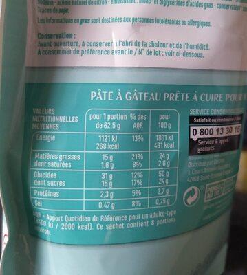 Préparation pour Moelleux saveur Citron sans gluten - Voedingswaarden - fr