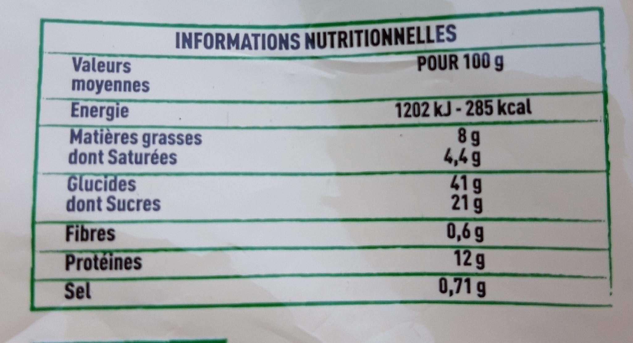 Tourteau fromagé - Voedingswaarden - fr