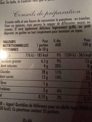 Panettone pur beurre festif boite métal - Voedingswaarden - fr