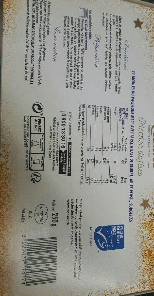 24 Moules du Pacifique farcies au beurre, ail & persil - Voedingswaarden - fr