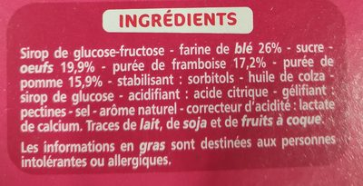 Barquettes framboise - Ingredients
