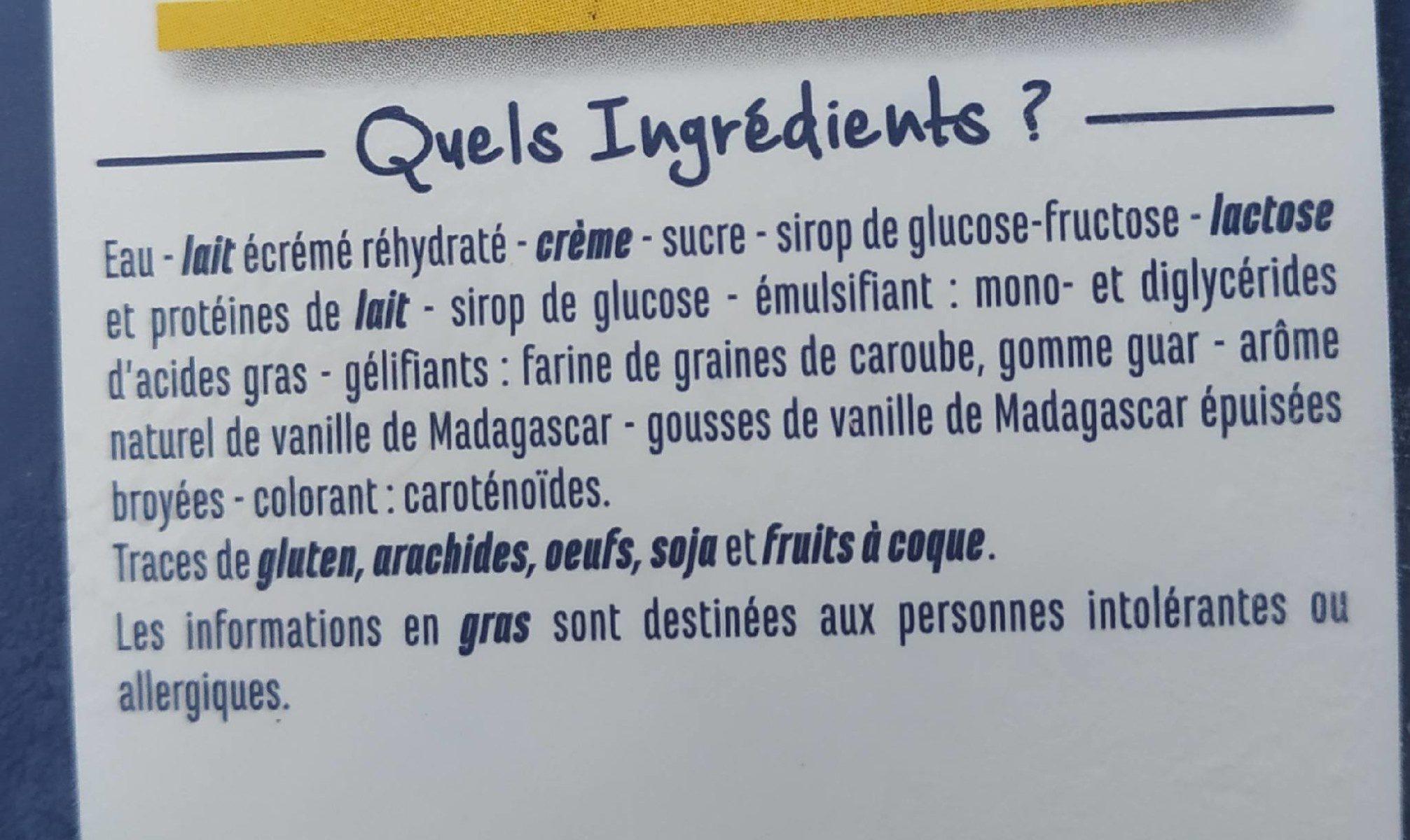 Crème glacée Vanille - A la vanille de Madagascar - Ingredients